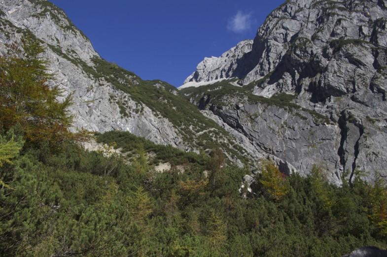 Grubenkar, der Anstieg erfolgt links durch die Latschen