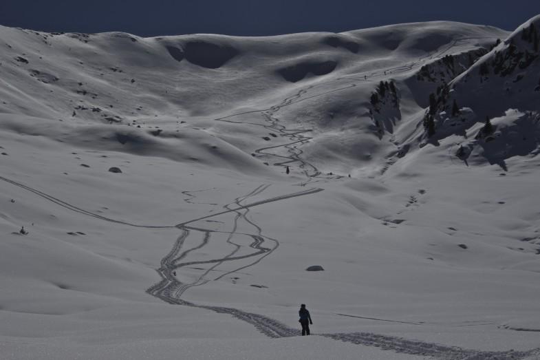Auch hier die Ersten, hab noch nie so viele Schneeschuhgeher gesehen im Winter. An die 20 Leute