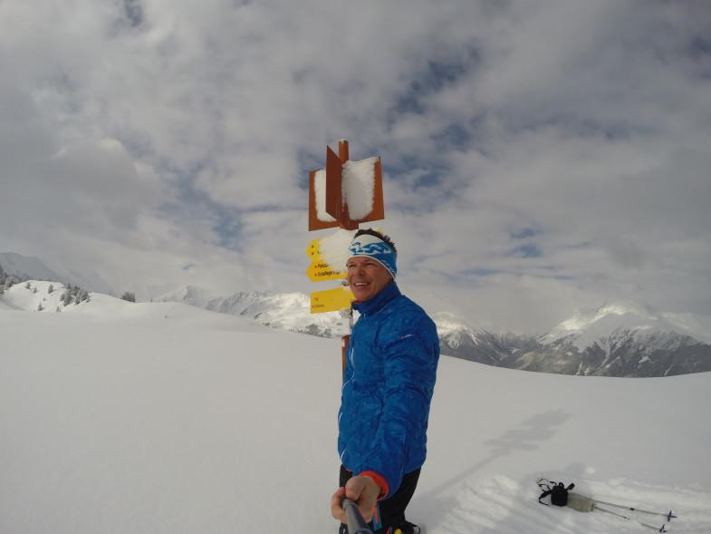 Ich auf Salfeins, leider zog es dann schnell zu und so mussten wir unsere Skitour dort beenden