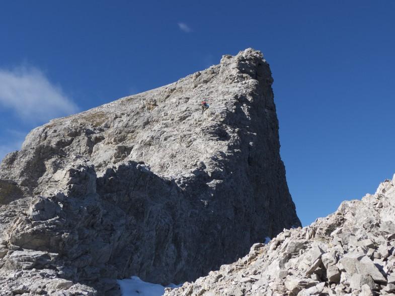 Etwas kniffelig der Abstieg von der Moserkarspitze ins Kühlkar. Im oberen Teil ganz gemütlich dann wird es etwas exponierter und brüchiger.