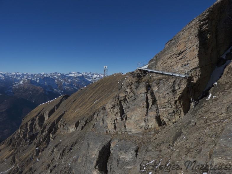 Die Aluleiter am Weg zur Weissspitze