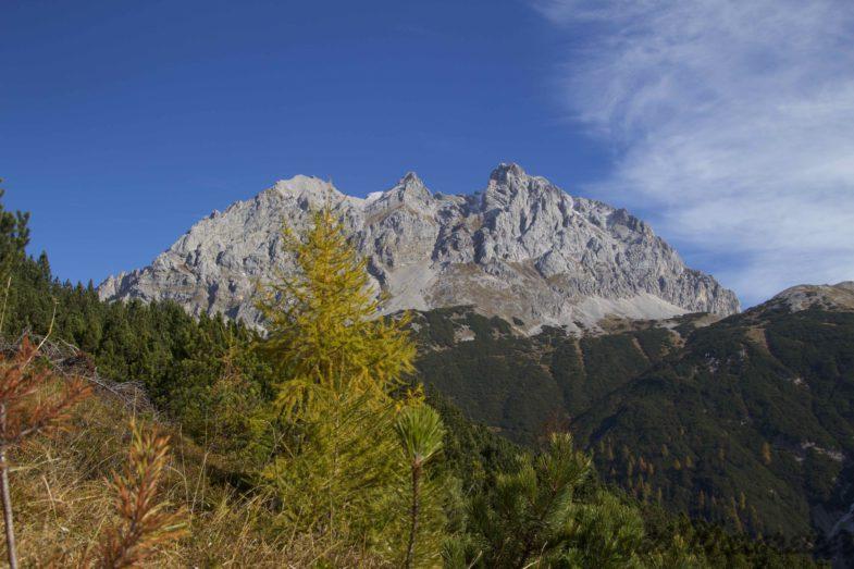 Blick zu den Marienbergspitzen, rechts der Grünstein