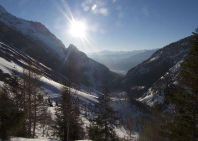Der Blick zur Hüttenspitze- talauswärts